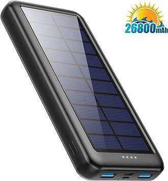 Pxwaxpy Cargador Solar 26800mAh, Power Bank Solar 【Entradas Tipo C & Mirco USB】 Batería Externa Solar de Carga Rápida Cargador Movil Portatil con 2 Puertos USB para Smartphones, Tablet, Cámara etc: Amazon.es: