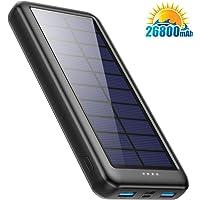 Pxwaxpy Cargador Solar 26800mAh, Power Bank Solar 【Entradas Tipo C & Mirco USB】 Batería Externa Solar de Carga Rápida…