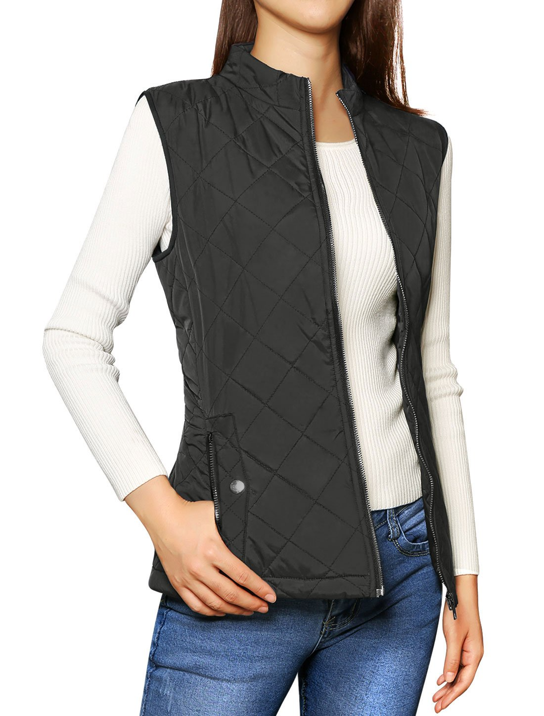 Allegra K Women's Zip Up Front Stand Collar Quilted Padded Vest L Black