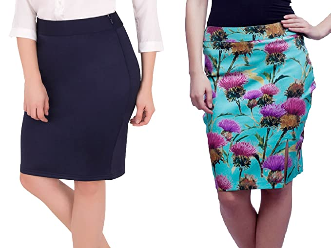 Cattleya Solid Imported Knit Pencil Skirt   Cattleya Printed woven ... 3c7a636ca