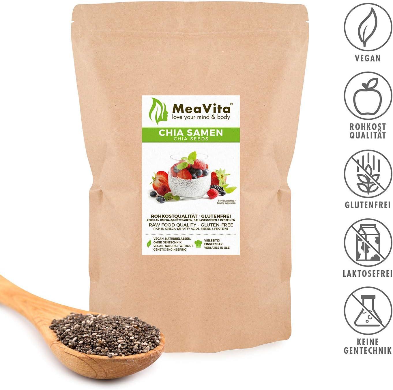 Meavita Premium Semillas De Chía Meavita, 2 x 1 Kg: Amazon.es ...