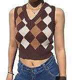 Hyipels Argyle Sweater Vest Women Y2K Plaid Knitted Streetwear Preppy Style V Neck Crop Knitwear Tank Top for Girl