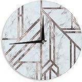 """KESS InHouse KESS Original """"Dark Marble Mosaic"""" Digital Geometric Wall Clock, 12"""""""