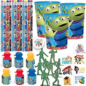 Toy Story 4 Birthday Party Favors Pack For 12 With Buzz Woody Bo Peep and Forky Pencils, Mini Bubbles, Toy Story Alien Favor Cups, Toy Army Men, Tattoos, and Exclusive Pin