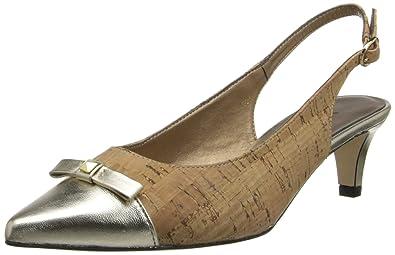 Womens Shoes Vaneli Tiffany Natural Cork/Platino Met Nappa