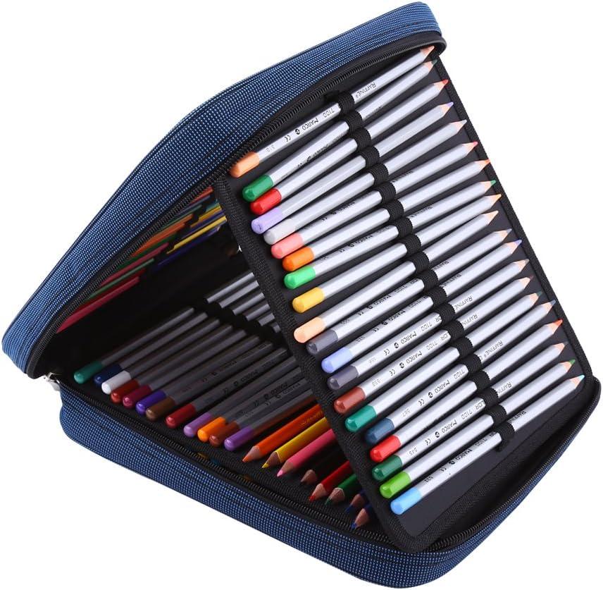 120 ranuras estuche plegable, gran capacidad Oxford tela con cremallera correa de soporte para el lápiz, Standable lápices de colores organizador bolsa de almacenamiento con asa: Amazon.es: Juguetes y juegos