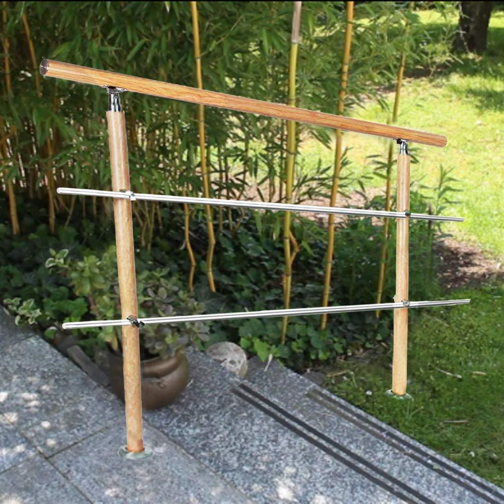 barandilla para interior y exterior escaleras de acero inoxidable balc/ón Barandilla para escaleras de UISEBRT vetas de madera con 2//3 travesa/ños