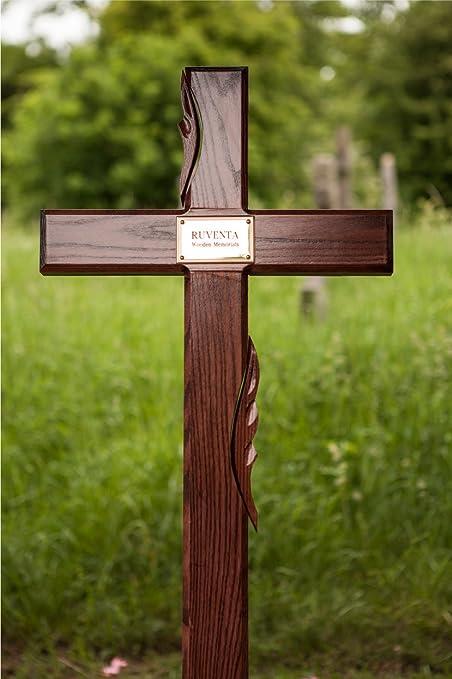 17 Oak Wooden Memorial Cross Wood Grave Marker Personalised