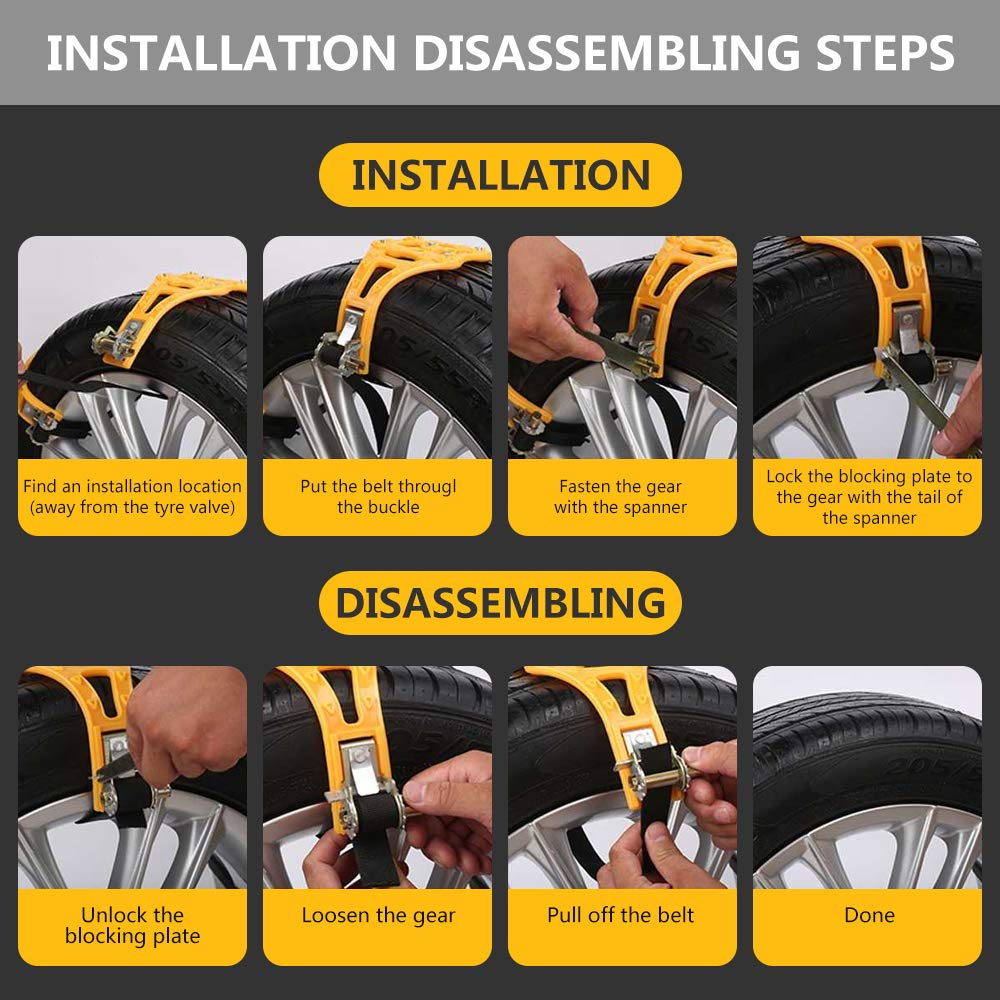Car Chains Universal Adjustable Anti-Skid Chains for Light Truck//SUV//ATV on Sand Road and Mud Road Car Anti Slip Tire Traction Chains for All Season Set of 6 Tire Width 165-275mm//6.5-10.8