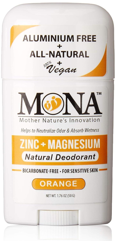 MONA BRANDS All Natural Deodorant for Sensitive Skin | Baking Soda free, Aluminum free, with Magnesium & Zinc | For Women, Men & Teens | Plant-based, Vegan, Non-GMO, Gluten & Cruelty free | ORANGE