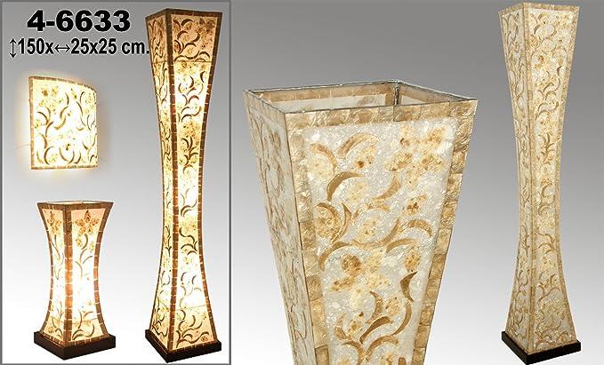 DonRegaloWeb - Lámpara de pie de fibra y nácar decorada con ...