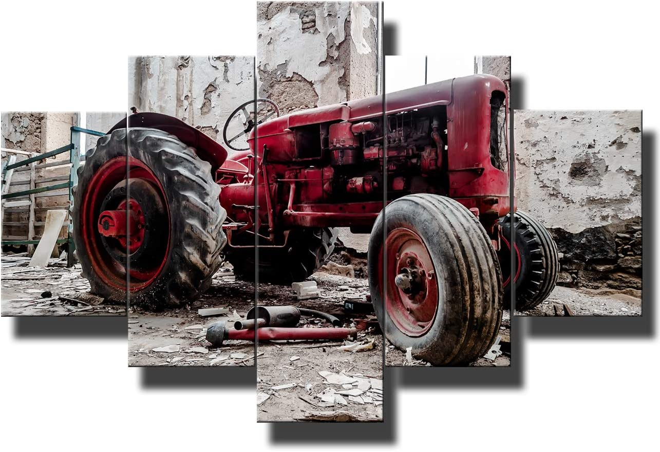 5 Piece Canvas Wall Art Pictures for Living Room Old Broken Tractor Paintings Modern Artwork Home Decor Giclee Wooden Framed Gallery-wrapped Stretched Ready to Hang Posters and Prints(60''Wx40''H)