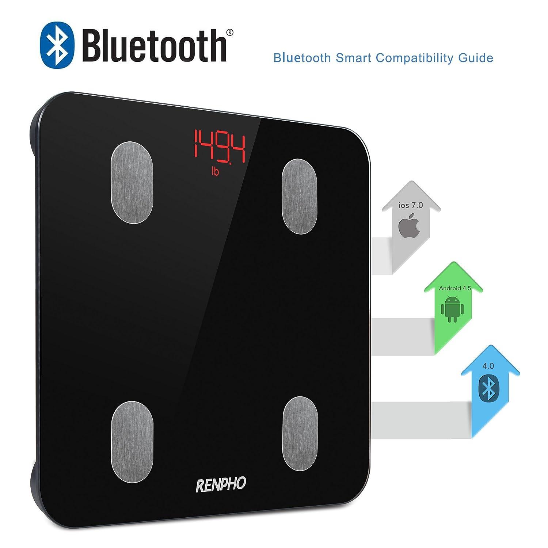 RENPHO Báscula de Baño Digital de Alta Medición Precisa, Balanza Digital Baño con Bluetooth por iOS y Android APP, Báscula Electrónica de Alta Medición ...
