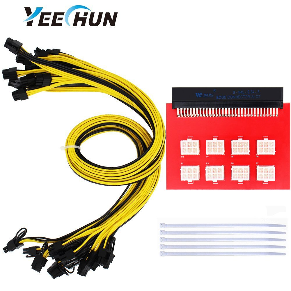 YEECHUN [Shipping from New York] PSU/GPU Breakout Board (8 Connectors) + 8pcs 16AWG PCI-E 6Pin to 6+2Pin Cables (27.5Inch) Power Adapter Board for HP 1200w/750w GPU Open Rig Mining Ethereum ZEC ETH