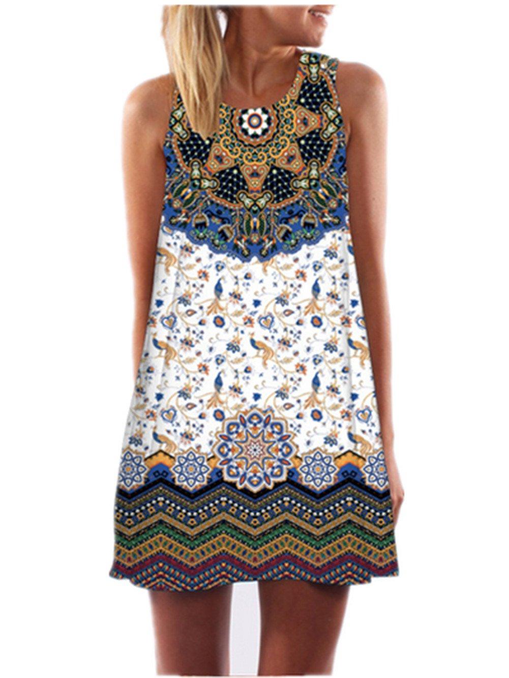 SRYSHKR Clearance 2018 Women's Summer Sleeveless Damask Floral Print Casual Loose T-Shirt Dress (Black, XXL)