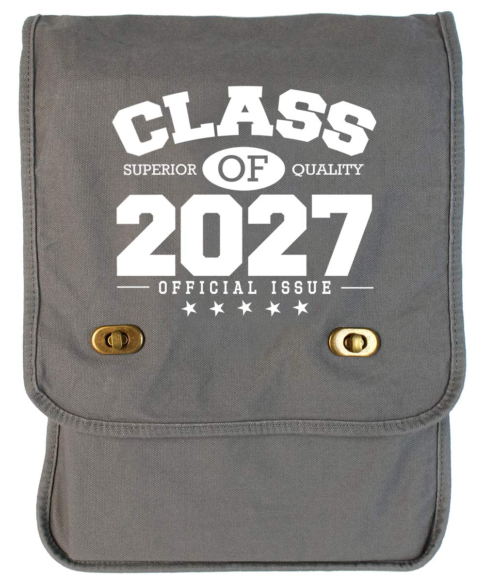 Tenacitee Class of 2027 Grey Brushed Canvas Messenger Bag