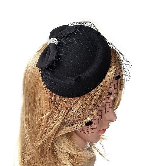 Biruil Fascinator Hats for Women Pillbox Hat Veil Headband Clip for Tea  Party Headwear (Black 3481bc3f649