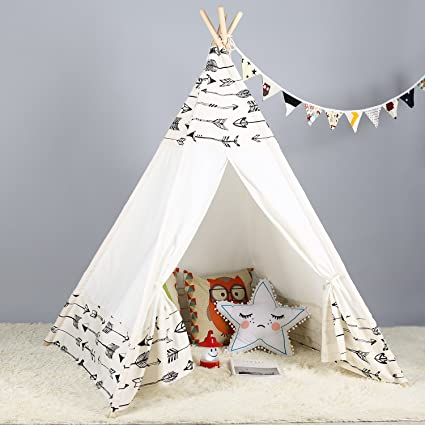 online retailer c4e51 03baa Steegic Kids Teepee Indoor Play Tent - Large Cotton Canvas Children Indian  Tipi Playhouse with Carry Case