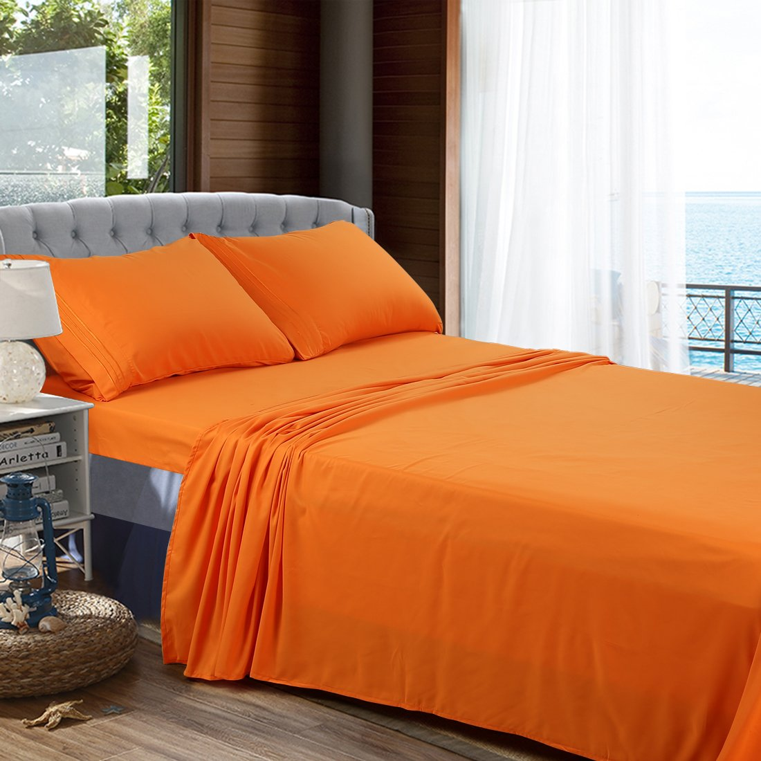 BLC Bed Sheet Set, Hypoallergenic Microfiber 4-piece sheets with 14-Inch Deep Pocket King, Orange