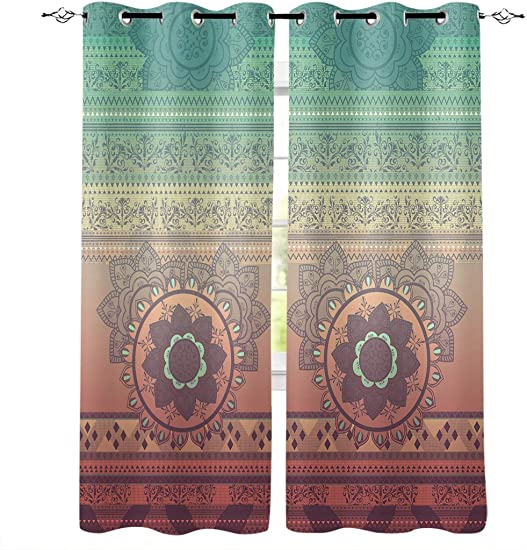 Libaoge Draperies Curtains Panels for Bedroom Ombre Mandala Hippy Bohemian Gypsy Window Curtains for Solding Glass Door – Set of 2 Panels, 104 W by 96 L