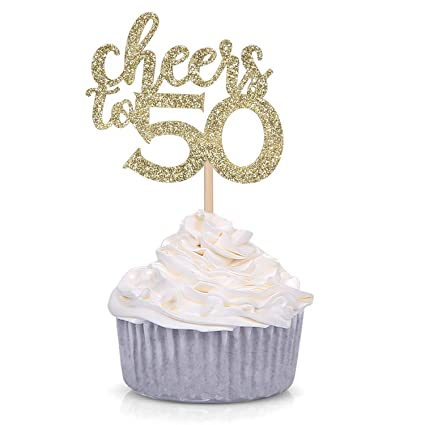 Amazon Gold Glitter Cheers To 50 Cupcake Toppers 50th Birthday