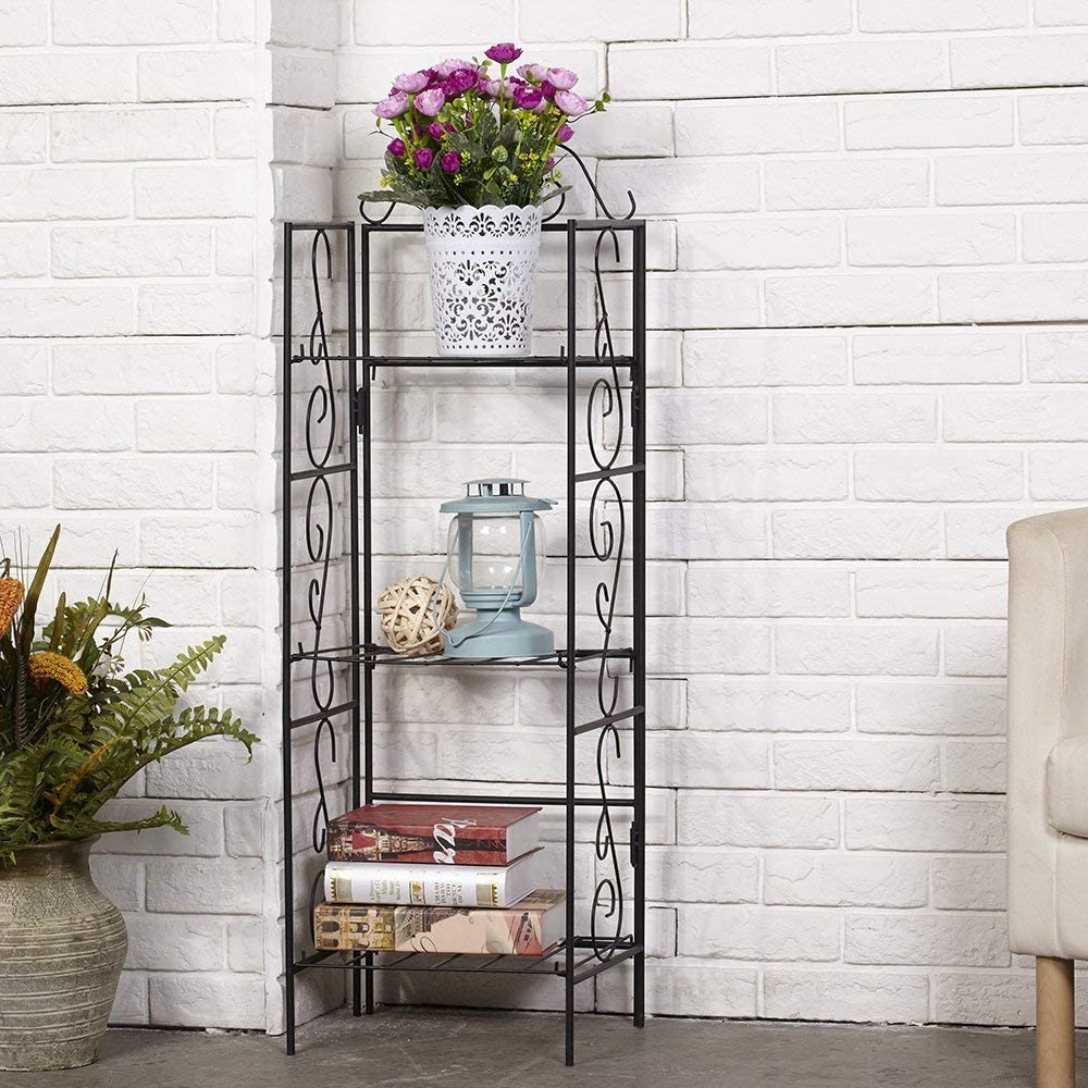 Amagabeli Versatile 3 Tier Standing Wire Shelf Shelving Unit Bakers Rack Metal Rustproof Organizer Corner Planter Stand Storage Shelves Indoor Outdoor Plant Rack Bookcase Black: Home & Kitchen
