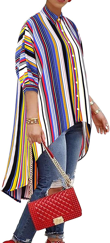 BIUBIU Women's Striped Floral Batwing Sleeve High Low Hem Loose Blouse Tops