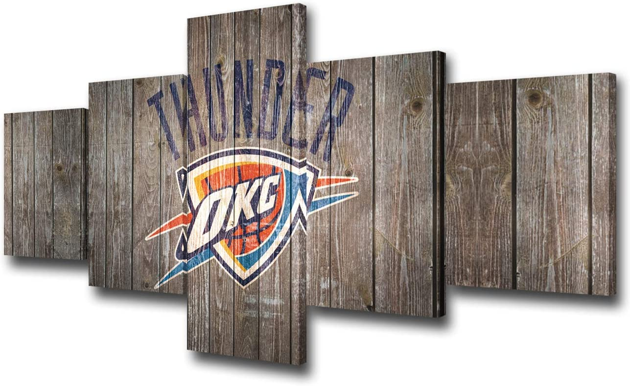 Oklahoma City Thunder Wall Art for Living Room NBA Modern Home Decor Canvas Basketball Pictures Sport House Decorations Black and White Artwork Paintings 5 Piece Framed Ready to Hang(50