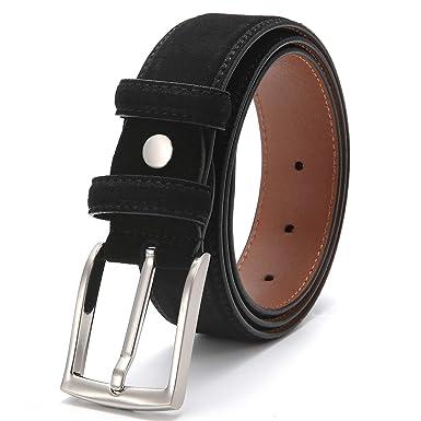 Damen Herren Gürtel mit Leder Rückseite schwarz 3,7 cm breit kürzbar Jeansgürtel