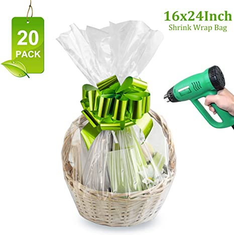 Shrink Wrap Bags Clear Cellophane Wrap Bag For Baskets Heat Shrink Bags For Gifts Easter Christmas 16x24 Inches 2 5mil 20