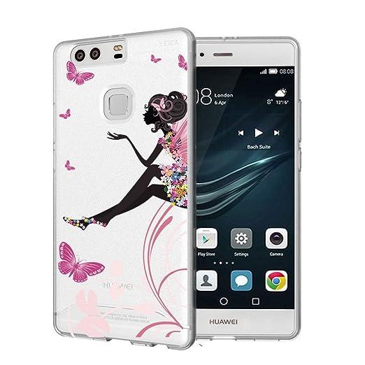 13 opinioni per Huawei P10 Cover , YIGA Colore Farfalla Ragazza Fiore Trasparente Silicone