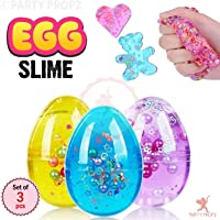 Party propz Slime Eggs, 3pcs Colorful Fluffy Slime Eggs Galaxy Fluffy Slime Non Sticky, Stress Toy Party Favor for Kids and Adults