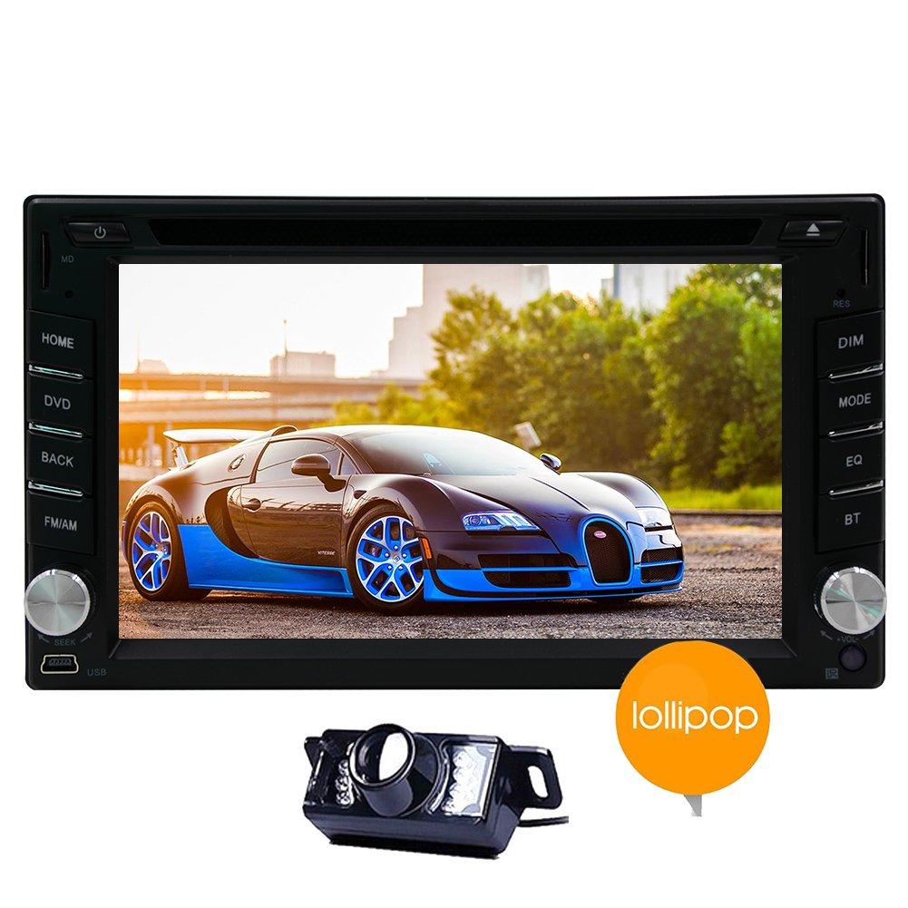 6,2 pouces Android 5.1 Stereo Lollipop Radio Auto Car Unit Quad Core Double Din t¨ºte avec 1024 * 600 ¨¦cran tactile Prise en charge Bluetooth Navigation GPS Sortie AV Control Volant WIFI 3G DVR CAM-IN OBD