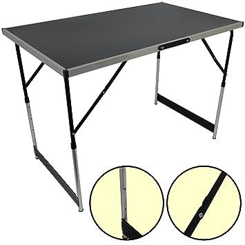 Charmant Set Of 3 Folding Trestle Tables Portable Aluminium Height Adjustable 100cm/3u0027  ...