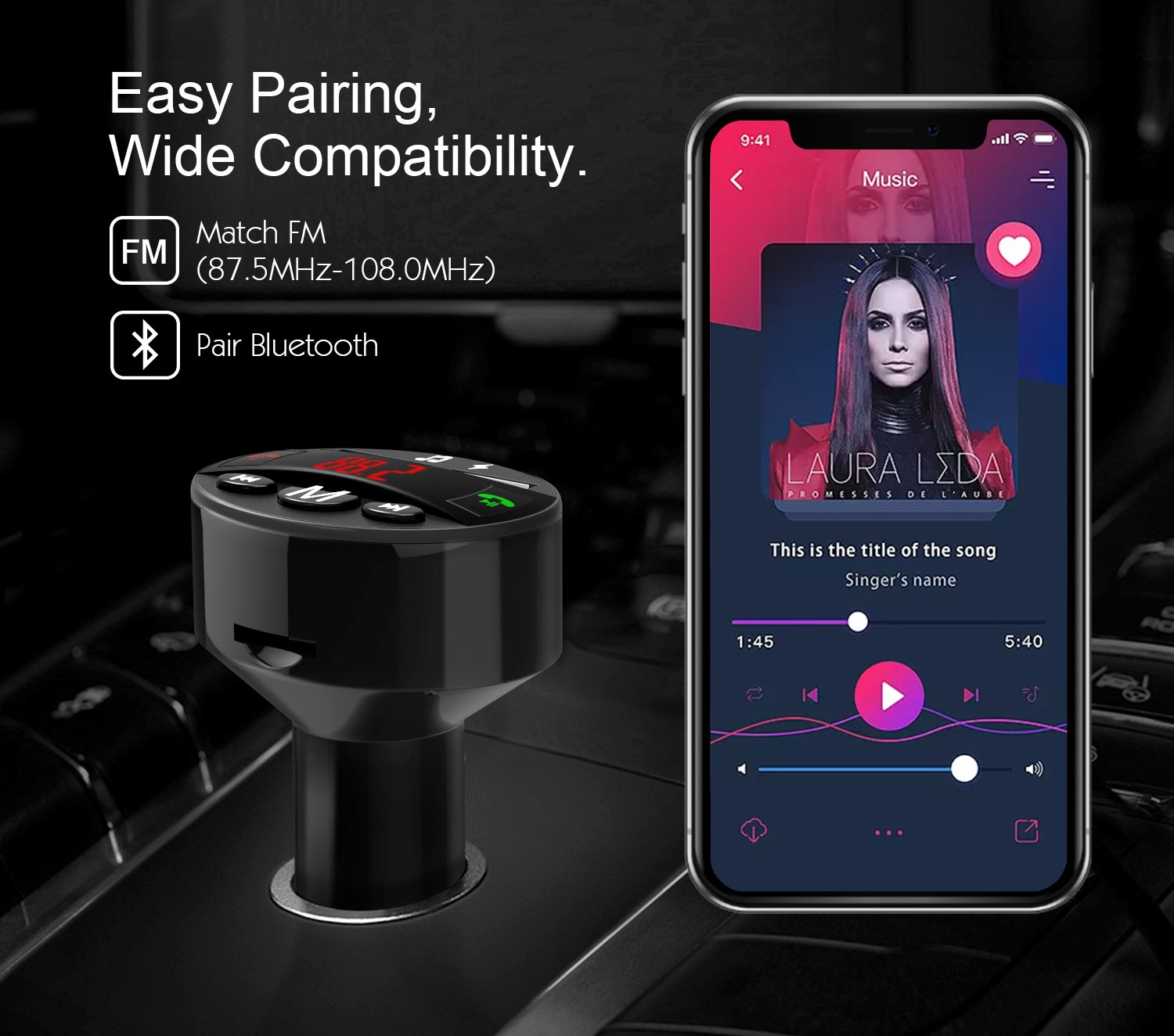 USB Flash Drive Reader Port Black 4351491635 LCD Display MoKo FM Transmitter with QC 3.0 Port 3 Playing Modes TF Card Slot Bluetooth In-Car Radio Adapter Audio Receiver with Hands-free Calling