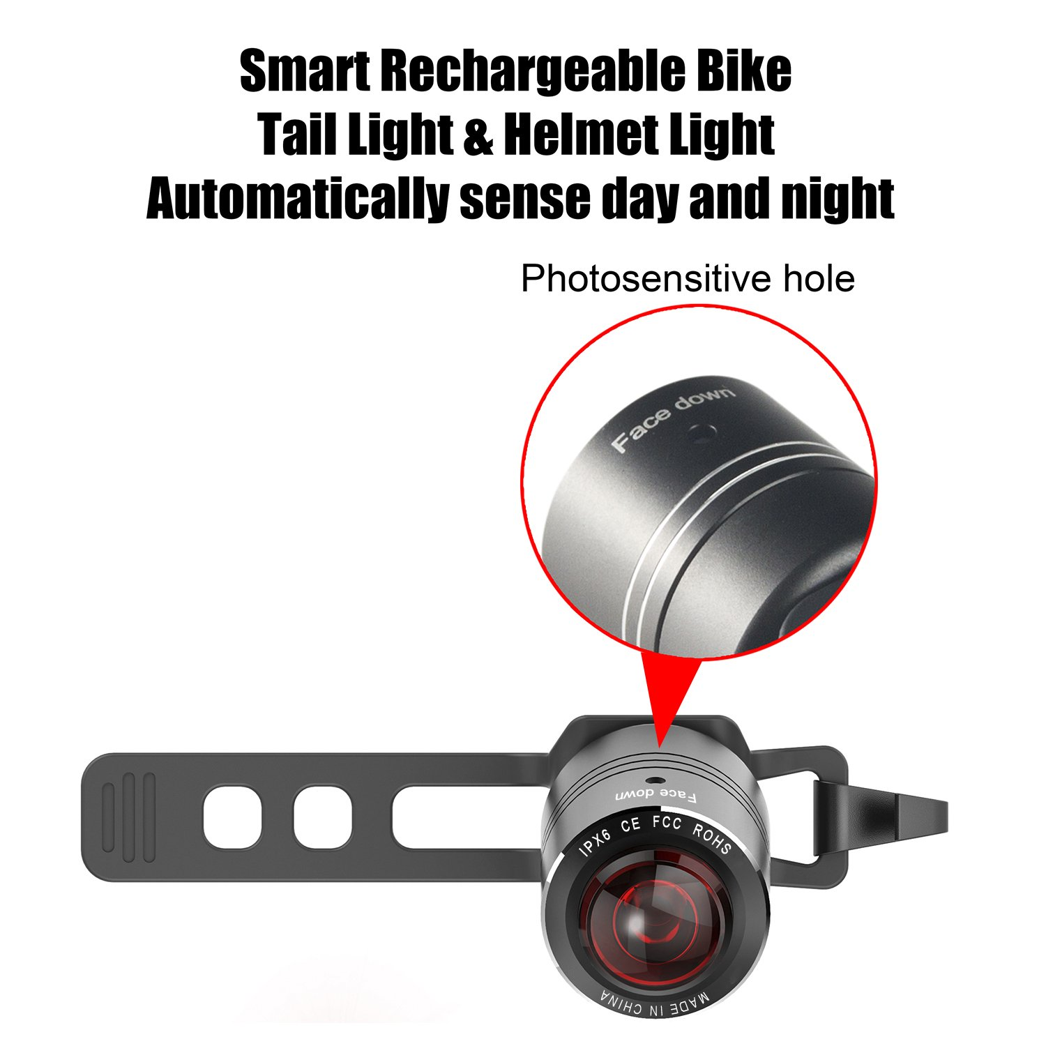 Victagen Smart USB Rechargeable Bike Tail Light IPX6 Waterproof LED Bicycle Taillight Cycling Safety Helmet Light Rear Bike Light Auto on-Off According to Brightness Movement