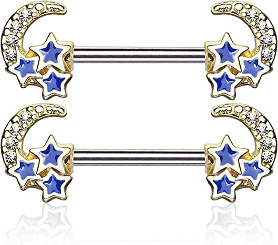 Clear Covet Jewelry CZ Paved Linked Stars 316L Surgical Steel Nipple Rings