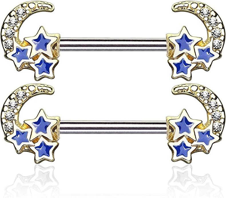 Covet Jewelry 3 Pcs Assorted Shapes 316L Surgical Steel Clear CZ Paved Tongue Ring Pack