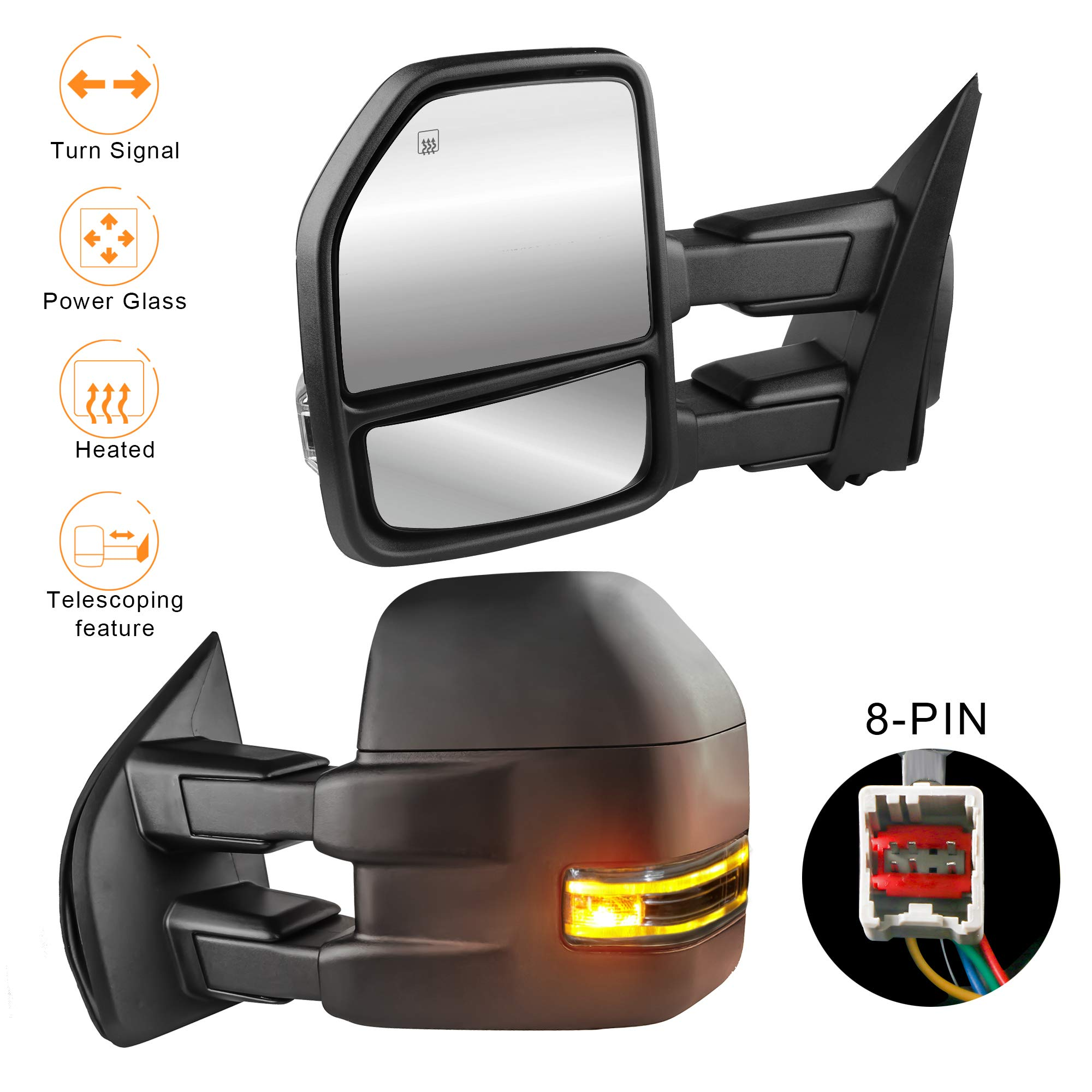 MOSTPLUS Power Heated Towing Mirrors for Ford F150 2015 2016 2017 w/Turn Signal-8 Pin Plug (Set of 2) by MOSTPLUS