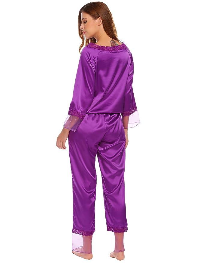 aeb25141f56bcb Ekouaer Damen Herbst/Winter Classischer Satin Schlafanzug Langarm Spitze  Pyjama N**AChtwäsche mit Organza (2 Stücke): Amazon.de: Bekleidung