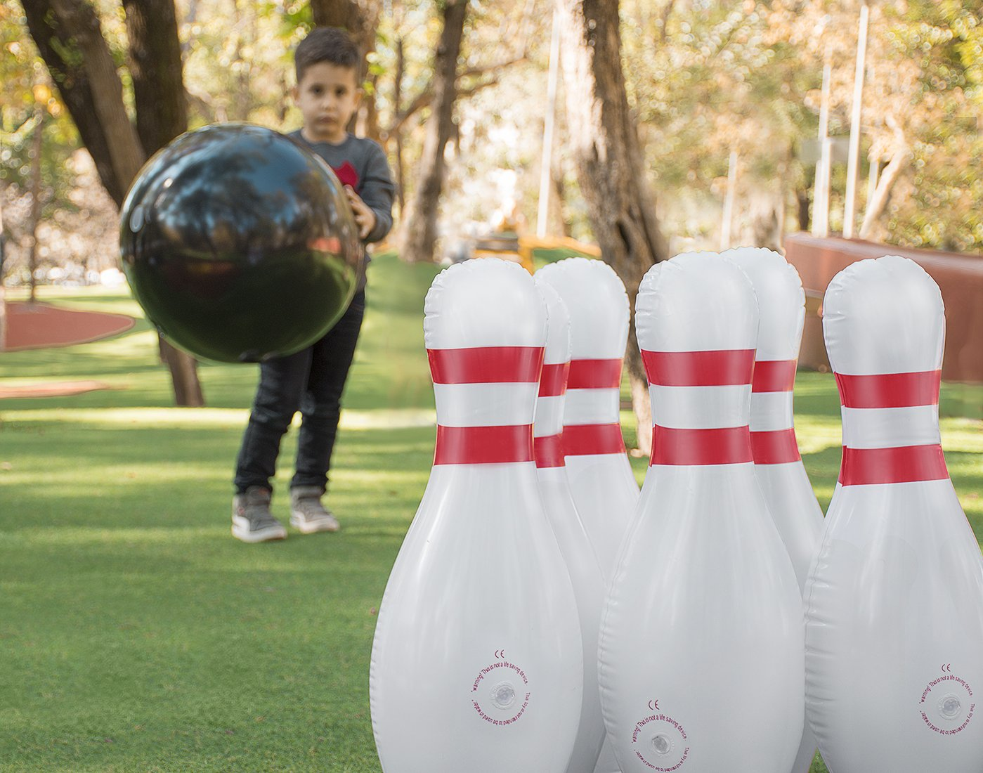 Inflatable Bowling Ball Set – Ideal Fun Game for Kids & Adults, Family Parties & Picnics – Outdoor or Indoor - Stable & Durable – Perfect Size – Includes 1 Ball & 6 Pins by ABCO TECH (Image #5)