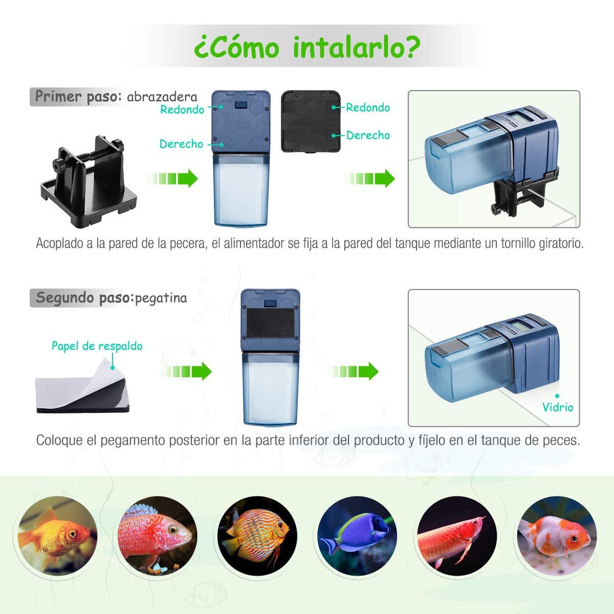 isYoung Alimentador Peces Automático Comedero Peces Automático con Pantalla LCD y Configuración de Tiempo de Alimentación Digital Dispensador de Comida