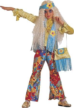 chiber Disfraces Disfraz de Hippie Floreal para Niña (Talla 12 (10 ...