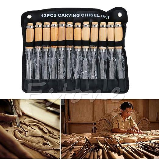 BINGHONG3 - Juego de 12 Cuchillos para tallar Madera ...