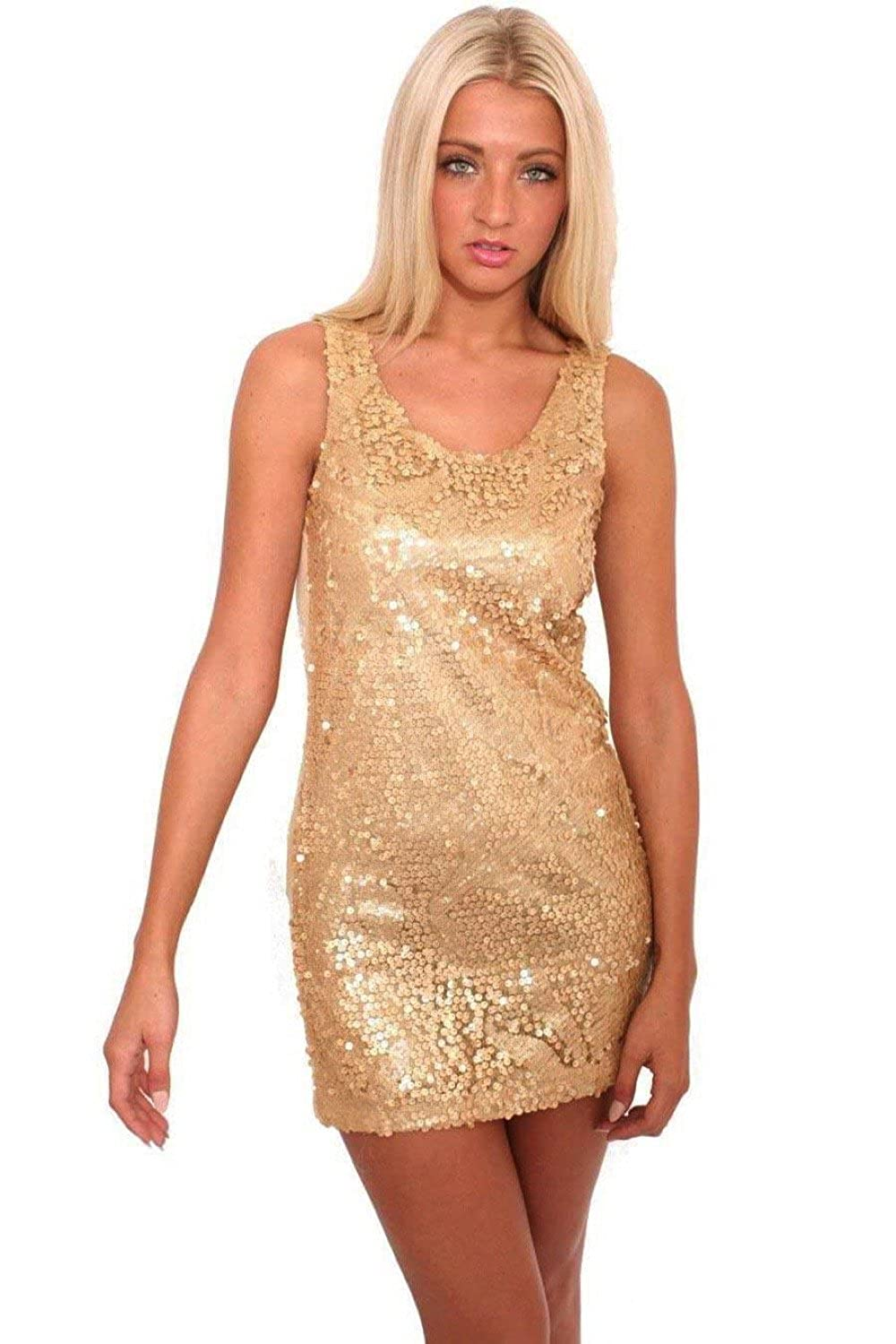PILOT? Litzy Sleeveless Sequin Front Short Tunic Dress in Gold