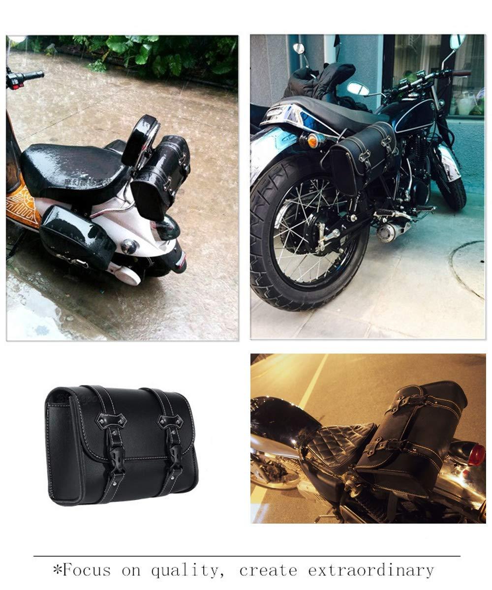 Motorcycle Fork Bag,Waterproof Motorbike Handlebar Bag PU Leather Saddlebag Front Rear Storage Tool Pouch with 2 Straps for Honda Yamaha Kawasaki Suzuki Ducati KTM Harley Davidson Sportster Black-B FENJAR
