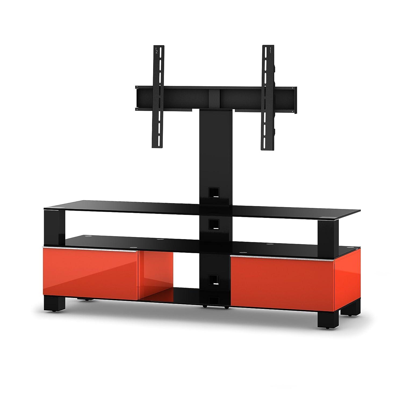Sonorous MD 8143-B-HBLK-RED Fernseher-Möbel mit Schwarzglas (Aluminium Hochglanz, Korpus Hochglanzdekor) rot/schwarz