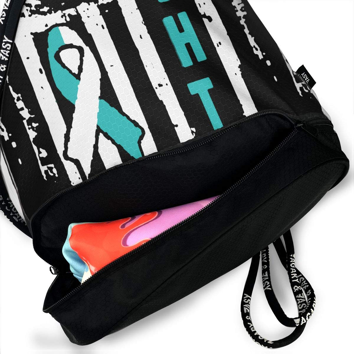 Cervical Cancer Awareness Flag Drawstring Bag Multifunctional String Backpack Custom Cinch Backpack Rucksack Gym Bag