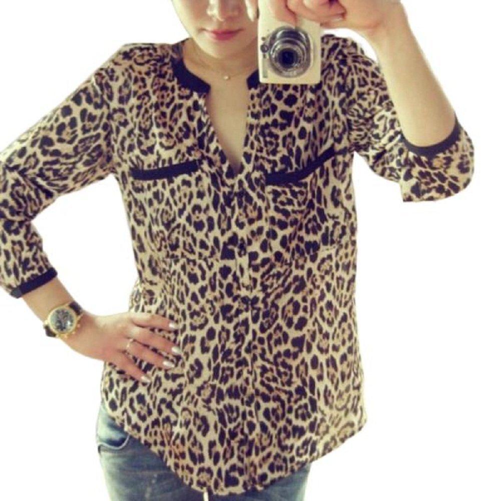 LUQUAN Women Slim Leopard Print Chiffon Shirt Long Sleeve Button-Down Blouses