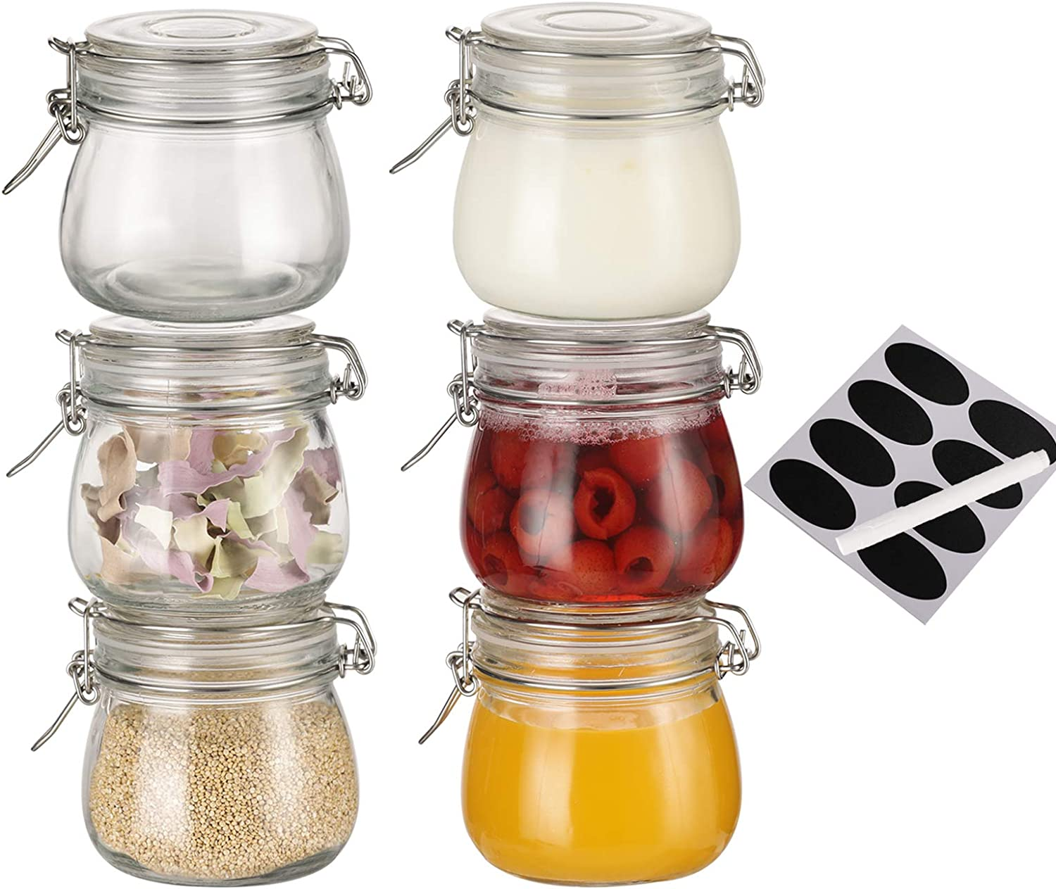 16oz Airtight Glass Jar Sealable Containers ,Food Storage Cereal containers ,with Airtight and Clamp Lids Canister(set of 6)